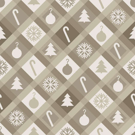 A muted sepia Christmas quilt pattern  Seamlessly Repeatable  Vector