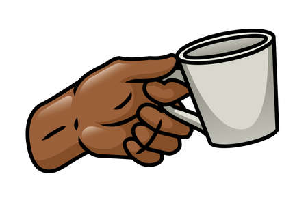 Illustration depicting a cartoon hand holding a cup