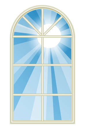 Illustration depicting the sun shining through a tall rounded window