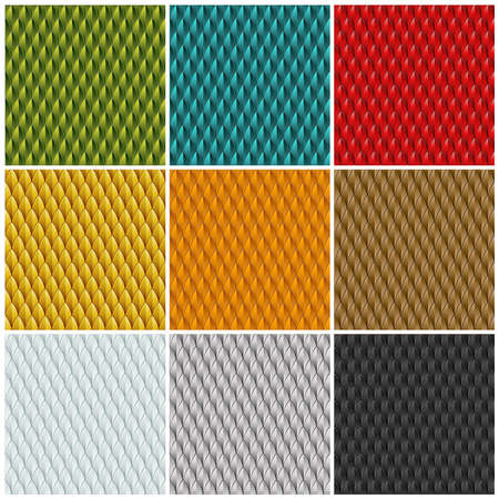 A collection of 9 different colored reptile skin backgrounds  Seamlessly repeatable  Vector