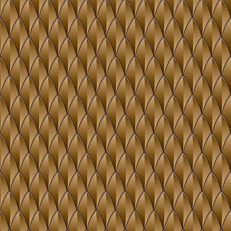 escamas de peces: Fondo Una piel de reptil de bronce con textura inconsútil repetible Vectores