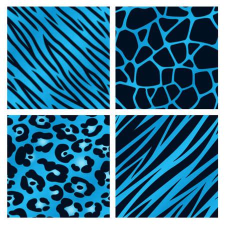 Een collectie van vier verschillende blauwe animal print achtergronden Naadloos herhaalbare Stock Illustratie
