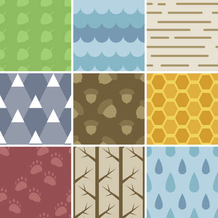 A set of 9 pastel colored nature patterns  Seamlessly Repeatable  Vector