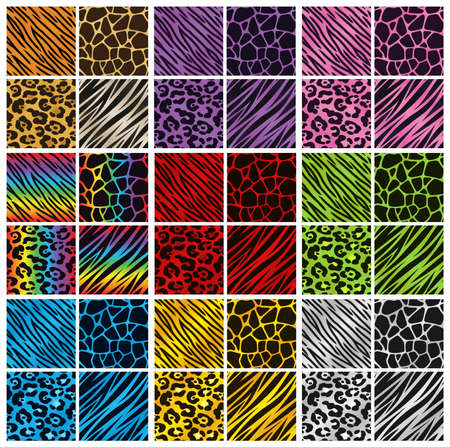 Collection of 36 different animal print backgrounds in various colors  Vectores