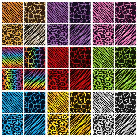 Verzameling van 36 verschillende animal print achtergronden in verschillende kleuren