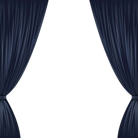 A pair of black drapes on white with copy space
