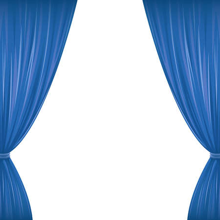 A pair of blue drapes on white with copy space