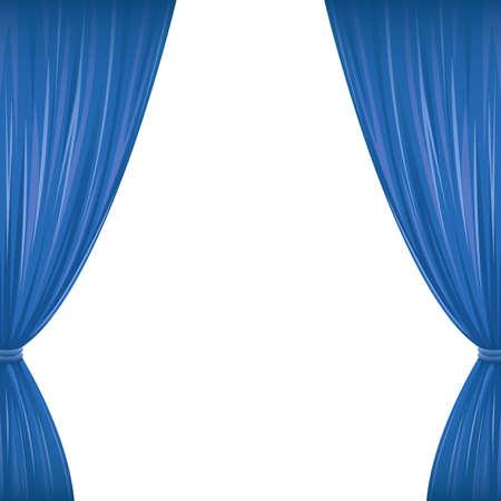 Een paar blauwe gordijnen op wit met een kopie ruimte