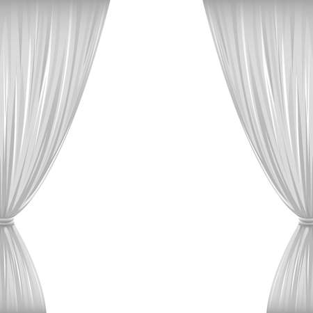 window curtains: A pair of white drapes on white with copy space