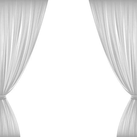 rideau sc�ne: Une paire de rideaux blancs sur fond blanc avec copie espace Illustration
