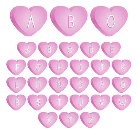 bevel: An uppercase font set of pink valentine s day candies
