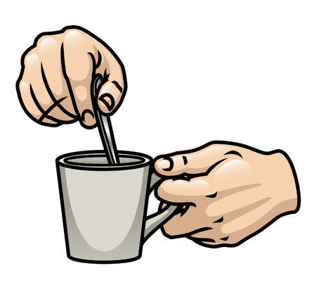 A pair of cartoon hands holding and stirring a drink