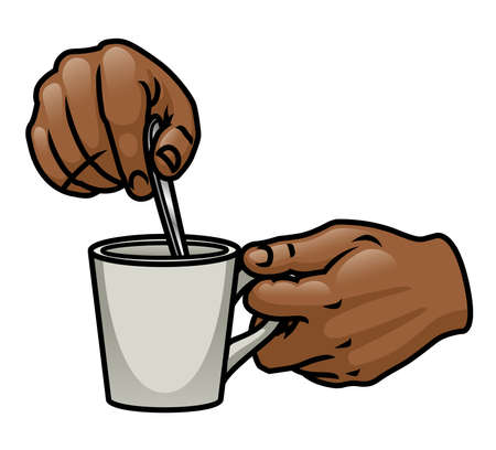 prepare: A pair of cartoon hands holding and stirring a drink