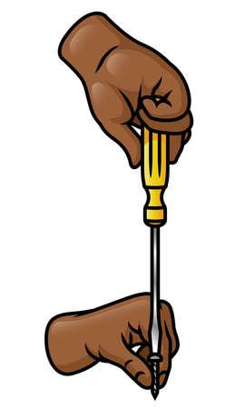 A pair of cartoon hands using a flat head screwdriver to insert a screw
