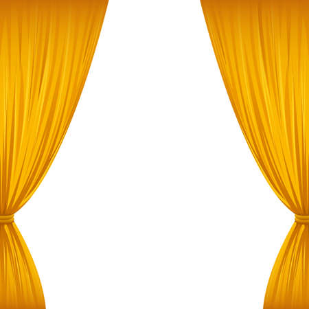 clipart wrinkles: A pair of golden drapes on white with copy space