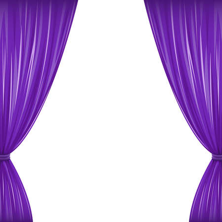 A pair of purple drapes on white with copy space  Illustration