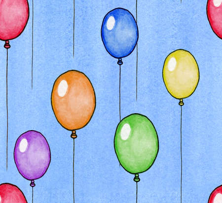 Seamless watercolor background depicting multi colored balloons on a blue sky background  photo