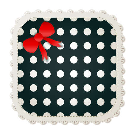 Illustration of a polka dot sewing patch lined with a lace trim and accented with a small red bow  Vectores