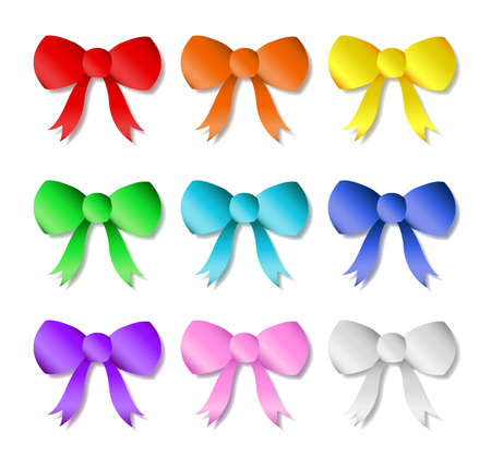 A collection of 9 different colored bows