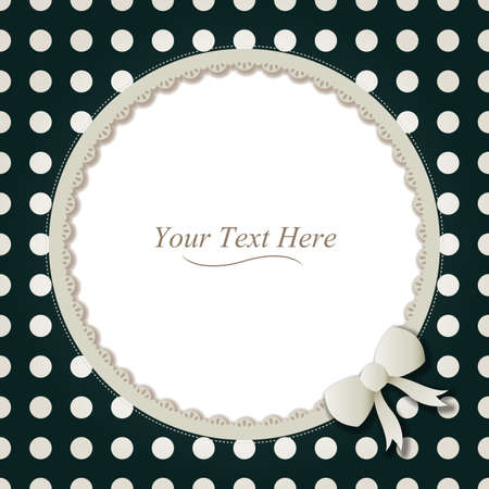 A cute black and white polka dot frame accented with a small white bow and lace  Vector