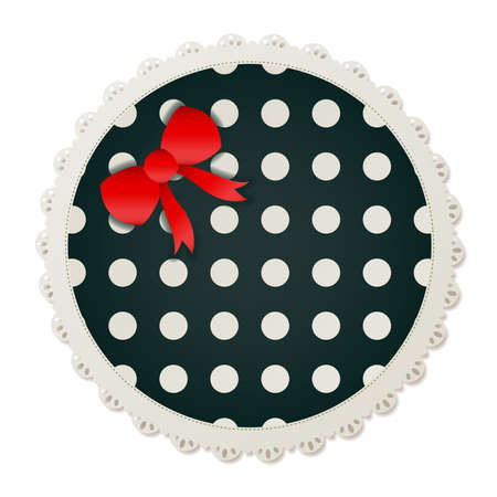Illustration of a round polka dot sewing patch lined with a lace trim and accented with a small red bow  Vector