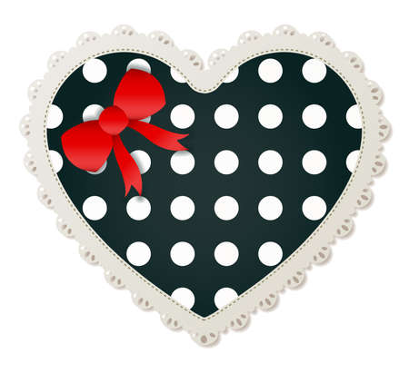Illustration of a polka dot sewing patch lined with a lace trim and accented with a small red bow  Illustration