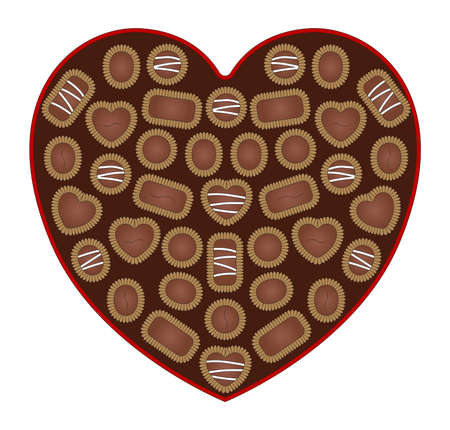 chocolate box: Illustration of an open box of valentine s day chocolate  Illustration
