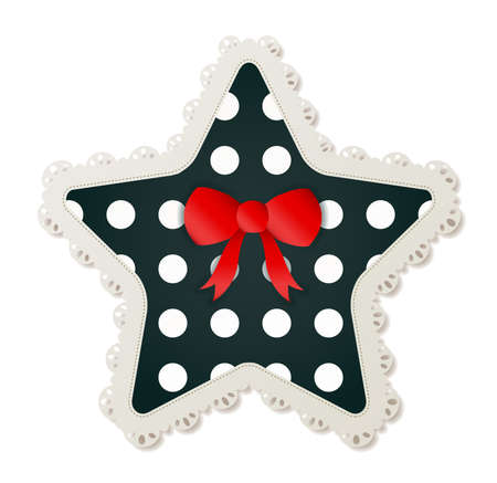 Illustration of a star shaped polka dot sewing patch lined with a lace trim and accented with a small red bow