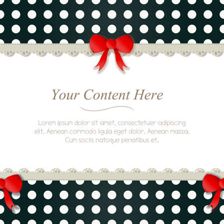 A cute black and white polka dot frame accented with a small red and lace  Horizontally repeatable  Vector