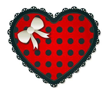 Illustration of a red   black heart textile patch  Accented with a small white bow