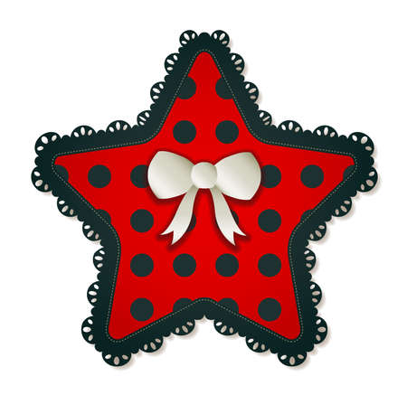 dropshadow: Illustration of a red   black star textile patch  Accented with a small white bow