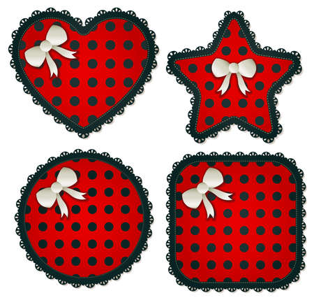 dropshadow: Collection of four red   black star textile patchs  Each accented with a small white bow