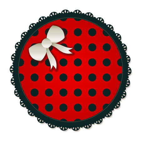 dropshadow: Illustration of a red   black circle textile patch  Accented with a small white bow  Illustration