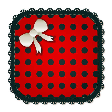 Illustration of a red   black square textile patch  Accented with a small white bow