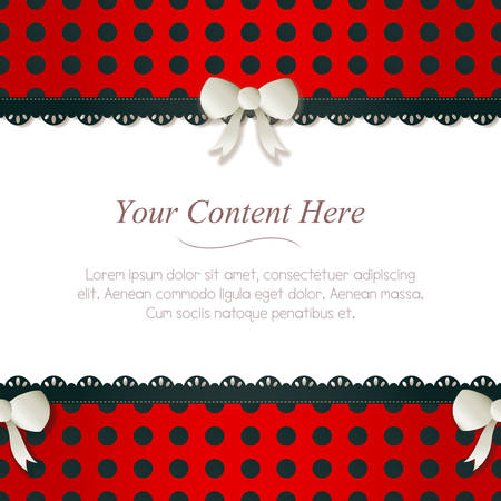 A cute black and red polka dot frame accented with small white bows and lace  Horizontally repeatable  Vector