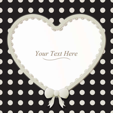 A cute black and white polka dot heart frame accented with a small white bow and lace  Vector