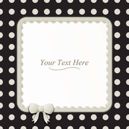 A cute black and white polka dot square frame accented with a small white bow and lace  Vector