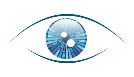 Abstract illustration of an eyeball with a geometric iris pattern