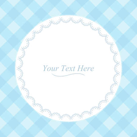 blue blanket: A round lace frame on a soft blue plaid background
