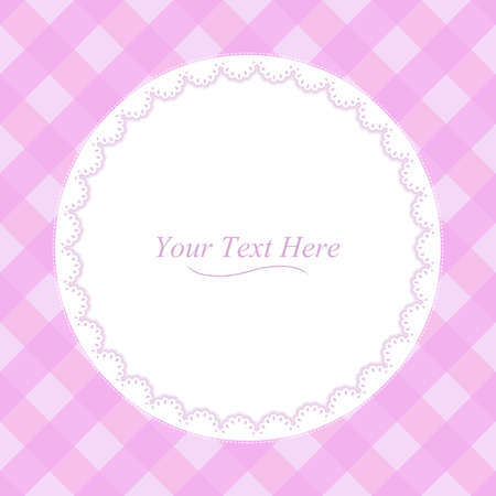 cute baby girl: A round lace frame on a soft pink plaid background  Illustration