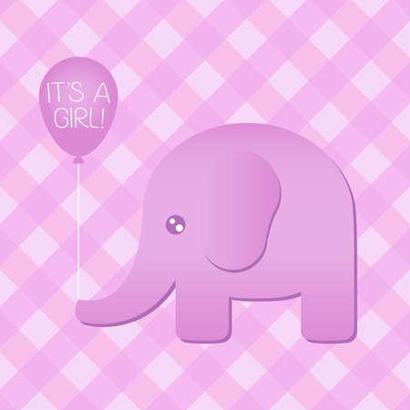 Illustratie van een schattige roze olifant die een het sa meisje ballon