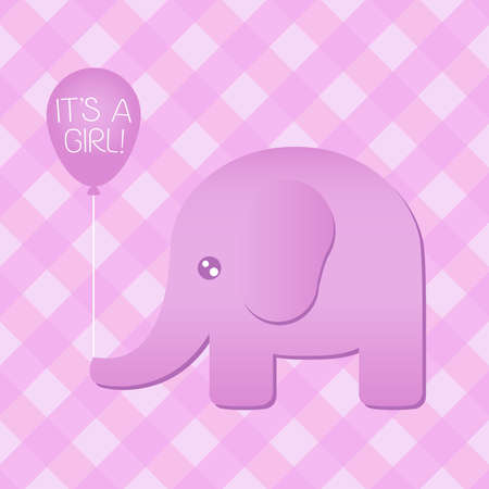 Illustration of a cute pink elephant holding an  it s a girl  balloon