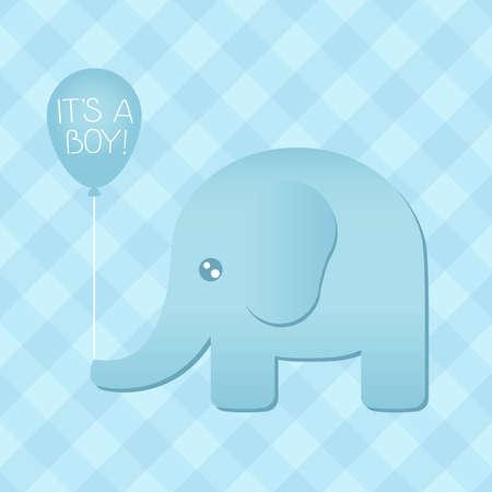 Illustration of a cute blue elephant holding an  it s a boy  balloon