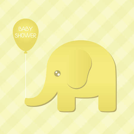 Illustration of a cute yellow elephant holding a  baby shower  balloon  Vectores