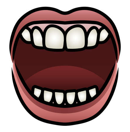 Illustration of a cartoon mouth open wide