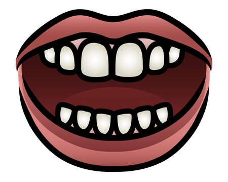 mouth open: Illustration of a cartoon mouth opening to speak