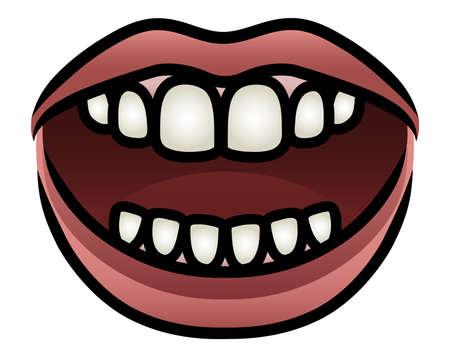 comunicacion oral: Ilustración de una apertura de la boca de dibujos animados a hablar Vectores