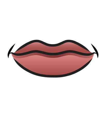 boca cerrada: Ilustración de una boca sonriente de la historieta