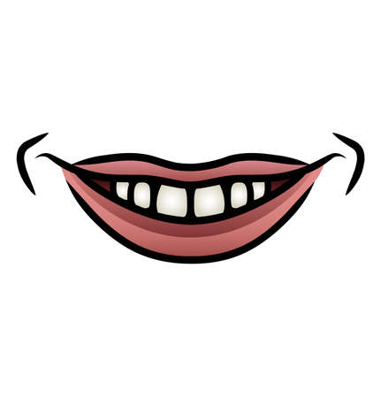 toothy: Illustration of a cartoon mouth giving a toothy smile
