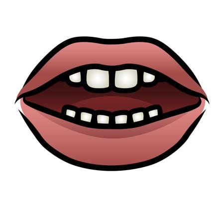 hot lips: Ilustraci�n de una boca de la historieta con los labios se separaron seductoramente